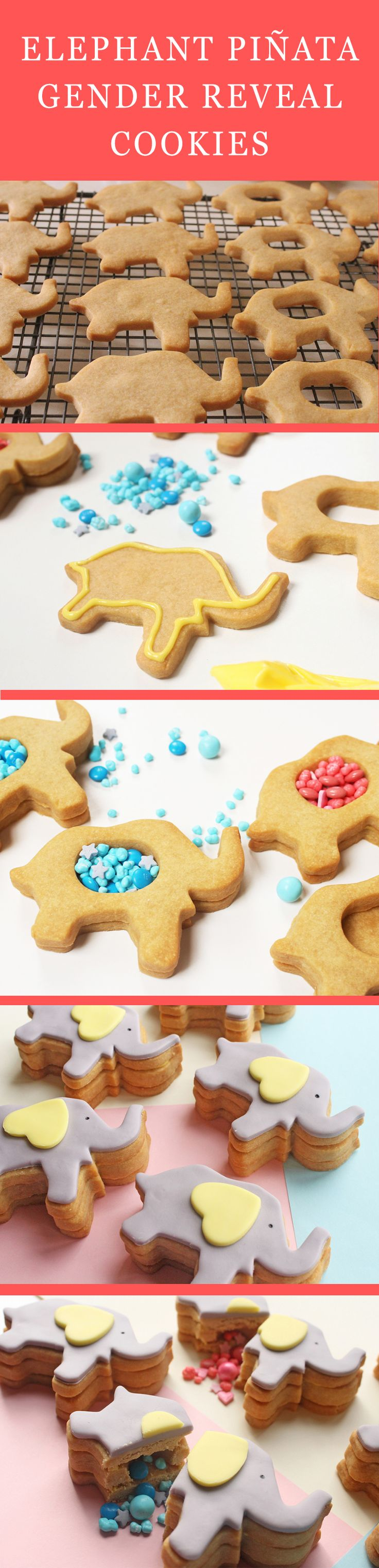 Make your gender reveal extra special — and tasty! Set aside some time to follow this recipe for elephant piñata gender reveal cookies. | [ http://www.babble.com/best-recipes/elephant-pinata-gender-reveal-cookies/ ]