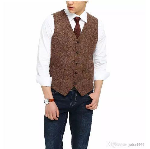 2018 British Country Style Farm Wedding Brown Wool Herringbone Tweed Vests Custom Made Groom's Suit Vest Slim Fit Wedding Vest Men Plus Size