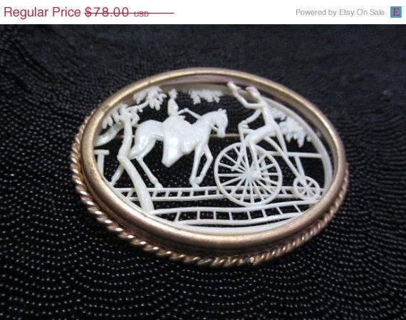 ON SALE Art Deco Celluloid Brooch 1920s Vintage by OurBoudoir, $70.20