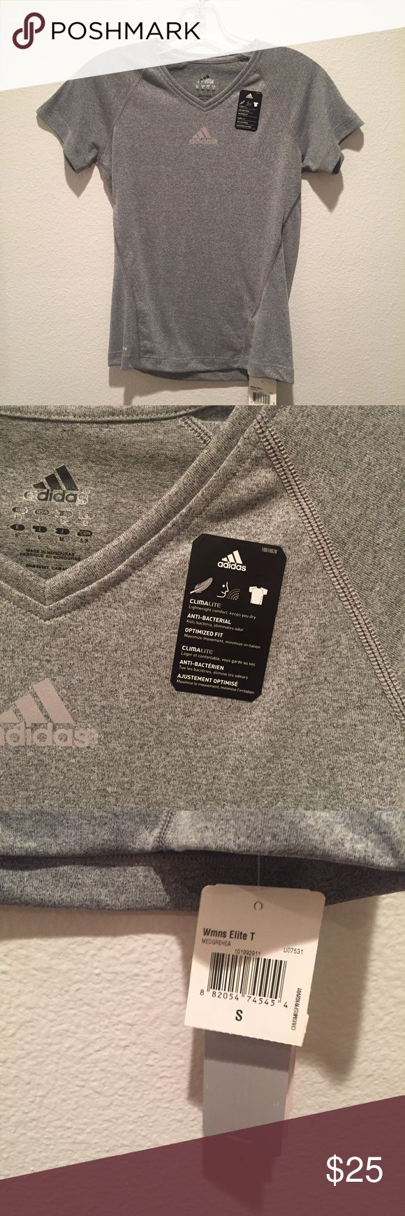 Grey Adidas Workout Shirt NWT, comfy and perfect for workout out of all kinds! Adidas Tops Tees - Short Sleeve