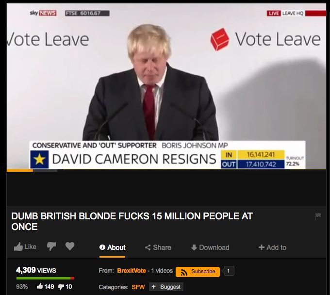 Someone uploaded Boris Johnson's Brexit speech to Pornhub with an interesting title - http://www.baindaily.com/someone-uploaded-boris-johnsons-brexit-speech-to-pornhub-with-an-interesting-title/