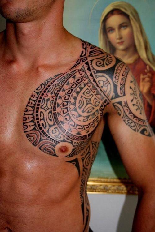 13 best tattoo images on pinterest tattoo designs polynesian tattoos and sleeve tattoos - Tatouage homme epaule tribal ...