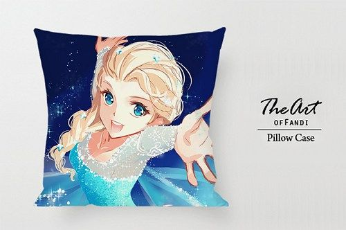 "Anna and Elsa Waterfall - Custom Square 18""x18"" One Side Pillow Case."