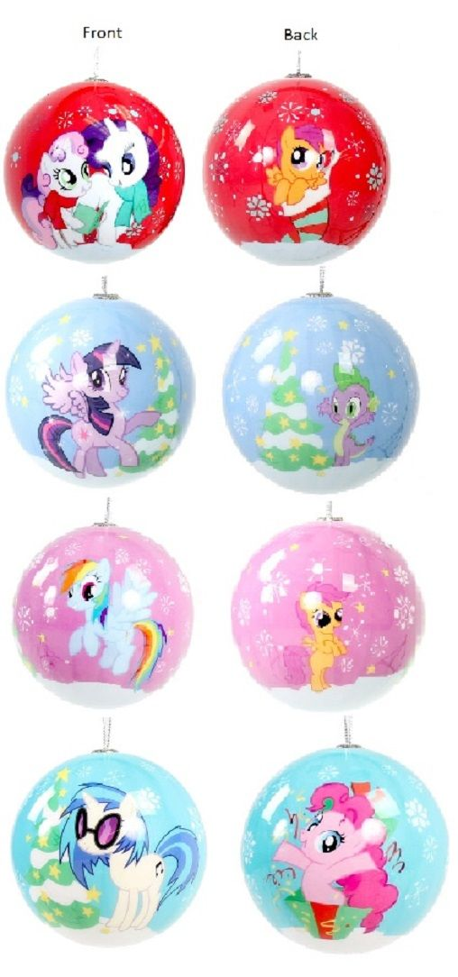 My Little Pony Holiday 4 Pack Ball Ornaments Set $17.00