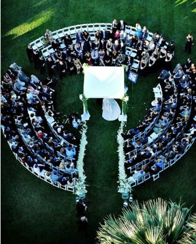Outdoor wedding set up; everyone has a good view
