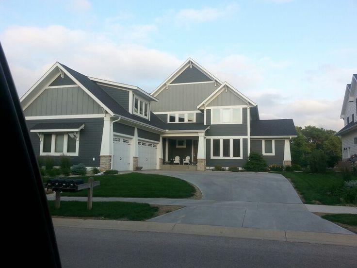 Two Tone Grey Again Farm House Exteriors Exterior