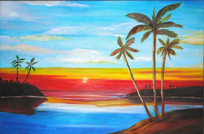 Gallery For gt Easy Landscape Paintings Beginners