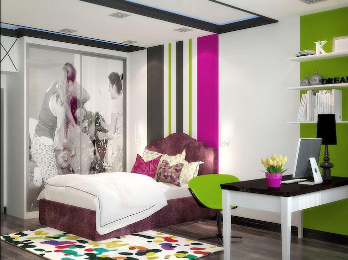 Schön Mädchen Jugendzimmer Bunte Zimmergestaltung Farben Fröhliche Laune Im  Zimmer Schranktüre Mit Fototapaten