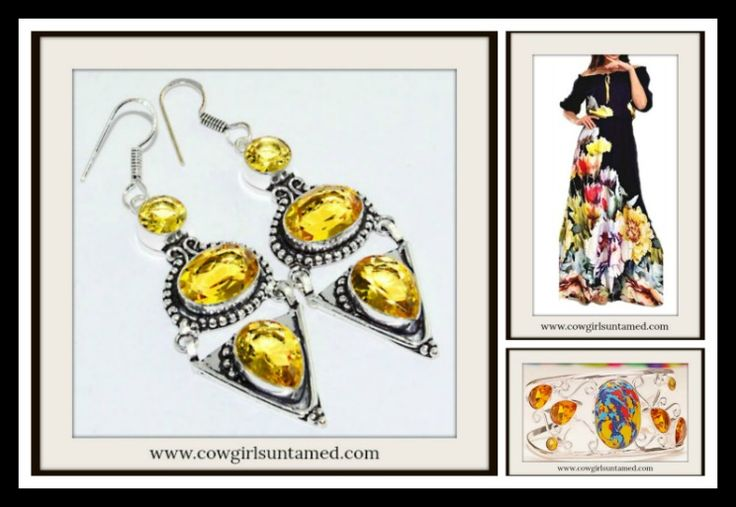 BEAUTIFUL HANDMADE COWGIRL GYPSY EARRINGS Yellow Citrine Gemstone Silver Earrings  #citrine #yellow #gemstone #jewelry #earrings #gypsy #cowgirl #beautiful #unique #handmade #silver #fashion #style #onlineshopping