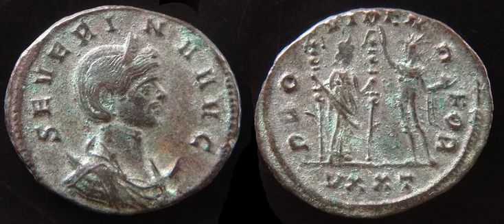Ulpia Severina (wife of Aurelian)   Coin issued 274 - 275 A.D.  AE Antoninianus  Obv: SEVERINA AVG, Diademed and draped bust right on a crescent.  Rev: PROVIDEN DEOR, Fides standing right holding two standards, facing Sol standing left holding globe in left and raising right, UXXT in ex.  Ticinum mint