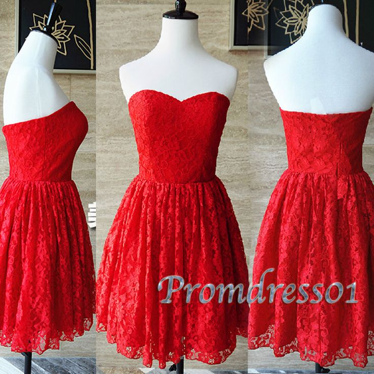 2015 cute red lace sweetheart strapless short prom dress, ball gown, bridesmaid dress, winter formal #promdress #wedding #coniefox