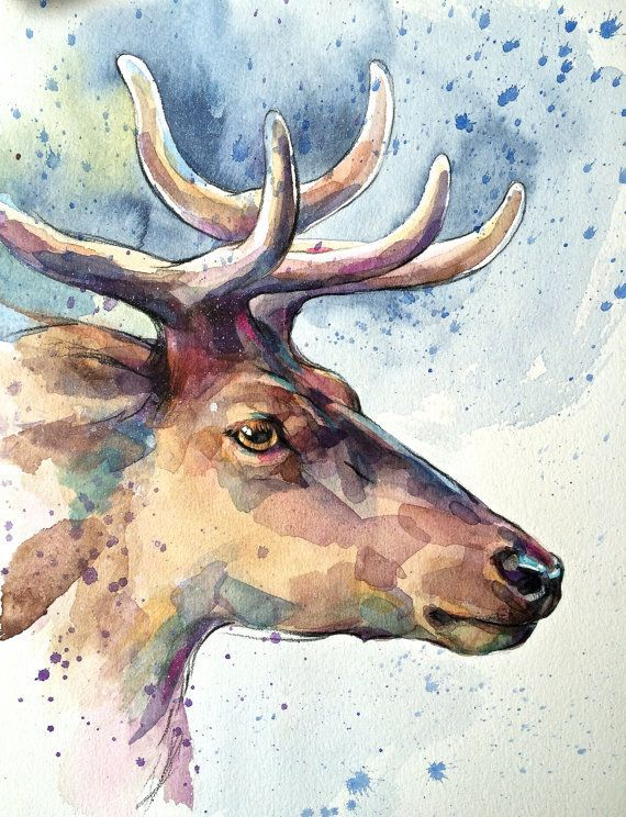 Deer Original Aquarell Bild Illustration Hirsch Hirsch Von Narteck