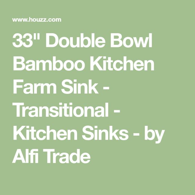 """33"""" Double Bowl Bamboo Kitchen Farm Sink - Transitional - Kitchen Sinks - by Alfi Trade"""