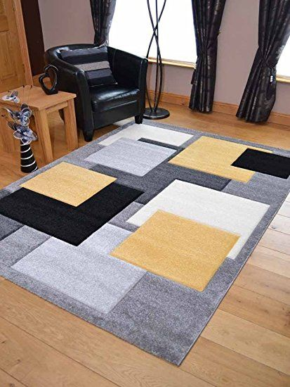 Tempo Lemon Squares Thick Quality Modern Carved Rugs. Available in 7 Sizes (67cm x 300): Amazon.co.uk: £57