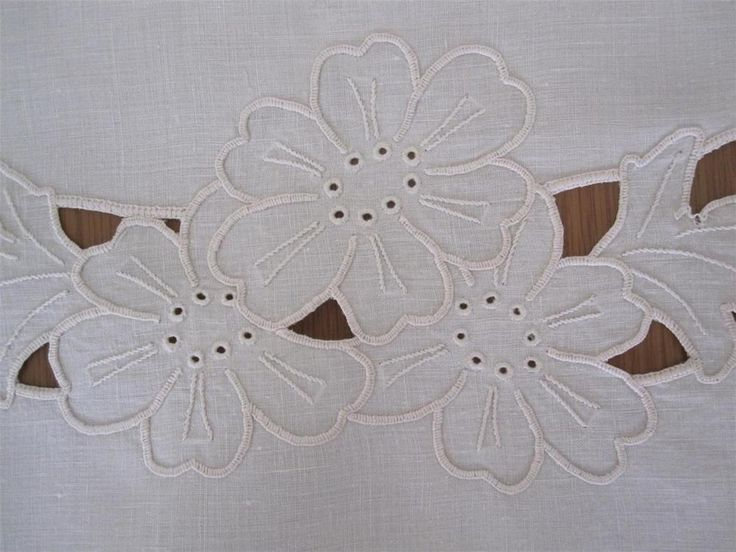 Hand Embroidered Table Centrepiece 74cms x 50cms Needlepoint work is in Cream Colour with Scalloped Edge in Crochet 'Never Used' but stored over long period of time so I have *Laundered *Starched *Ironed to freshen up.
