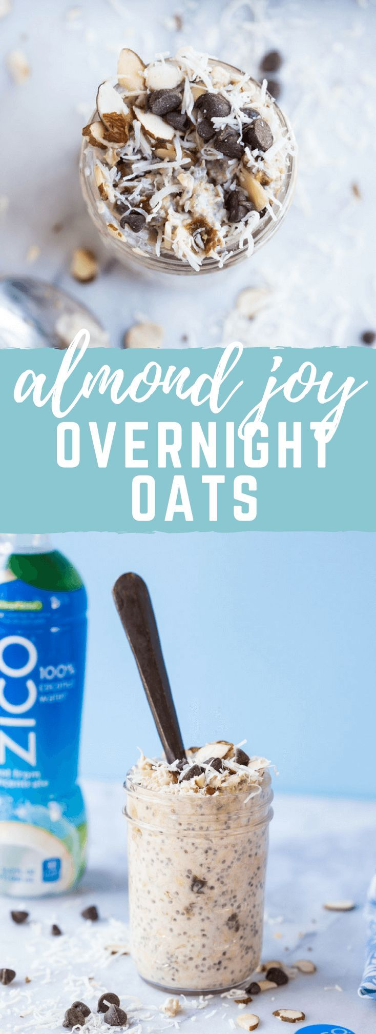 Almond Joy Overnight Oats made with coconut water.... say what??!! Yep, healthy dessert for breakfast... NO ADDED SUGAR and dairy free (well, minus the chocolate on top...but gimmeee all dat chocolate!) in collaboration with @ZICOCoconut #AD #InsideIsEver