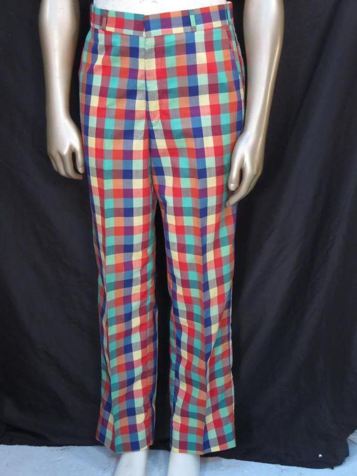 vintage 1970's Thomson  Colorful Checkered Vibrant Golf Pants - Size 34 * #Thomson
