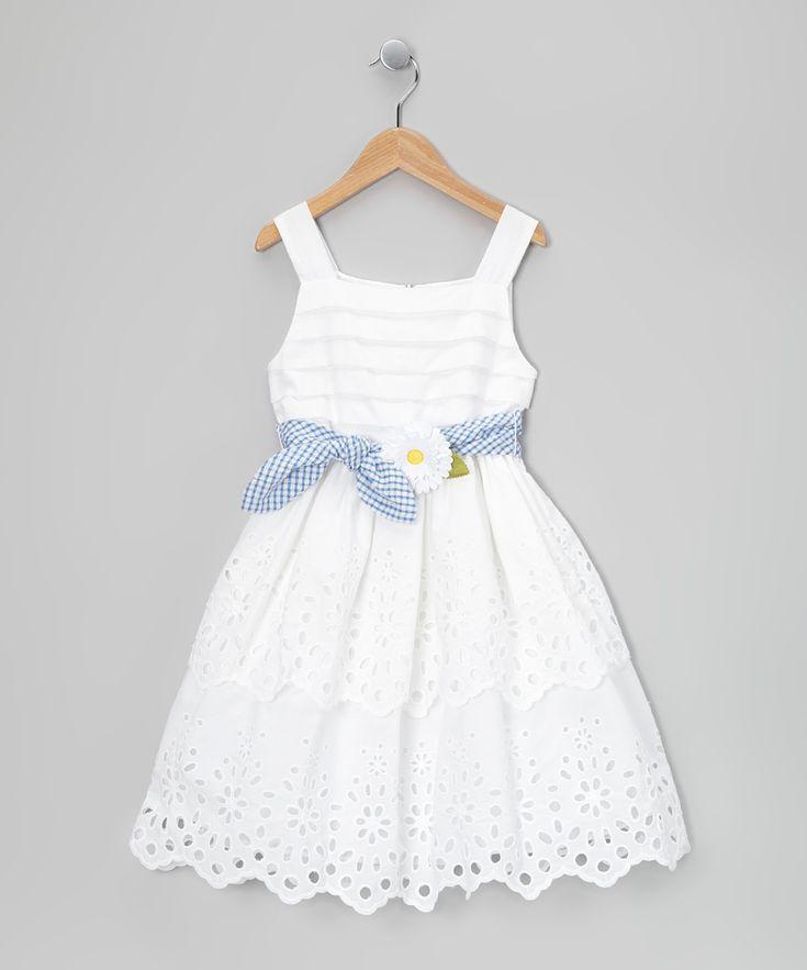 White Daisy Tie Dress - Toddler & Girls