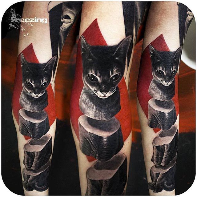 black cat tattoo on arm sliced 3d tattoo pinterest black cat tattoos cat tattoos and tattoo. Black Bedroom Furniture Sets. Home Design Ideas