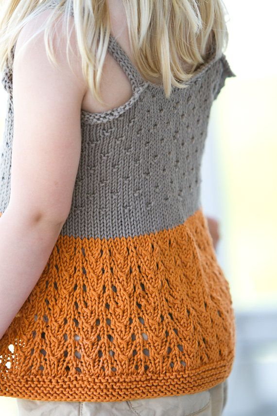 KNITTING PATTERN PDF file for girls airy lace tank top-summer shirt