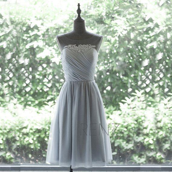 2015 Chiffon Bridesmaid Dress, Grey Cocktail Dress, Mesh Scoop Neck dress, Short Prom Dress, Lace Formal Dress tea Length (F265)-Renzrags