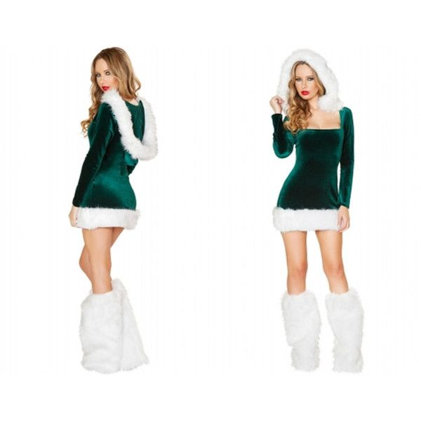 Sexy Santa's Helper Green Velvet Christmas Costume Minidress ($50) ❤ liked on Polyvore featuring grey, lingerie and women's clothing