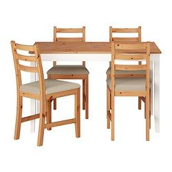 "LERHAMN table and 4 chairs, Vittaryd beige, light antique stain Length: 46 1/2 "" Width: 29 1/8 "" Length: 118 cm Width: 74 cm"