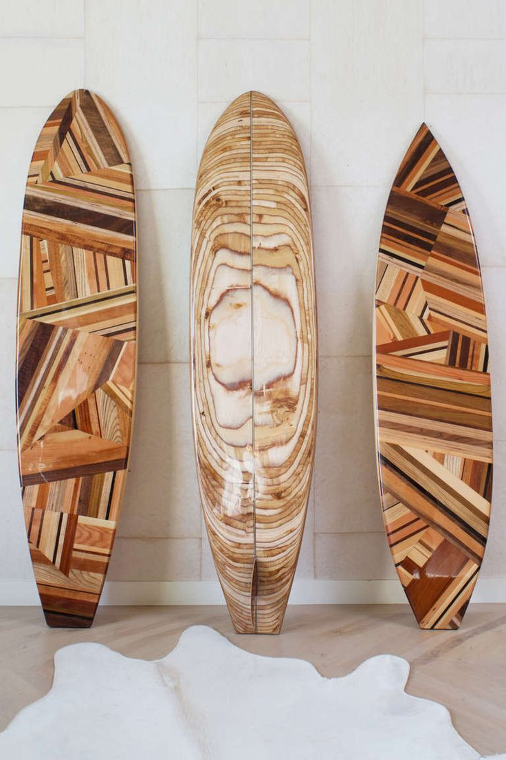 Mulholland Surfboard by Kelly Wearstler | handcrafted puzzle design features a spectrum of rich woods. A soulful and spirited homage to iconic west coast style.