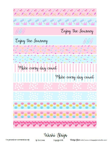 Free Printable Pastel Washi Tape Strips from Vintage Glam Studio