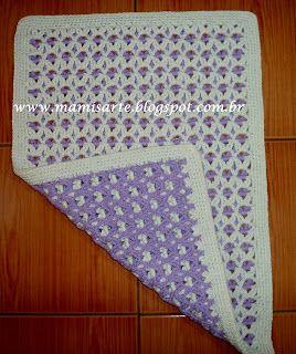 Crochet et Tricot da Mamis: Tapete Dupla face em ponto alto duplo- Passo a passo