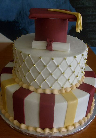 Two tier white graduation cake with graduation cap and diploma on top.JPG