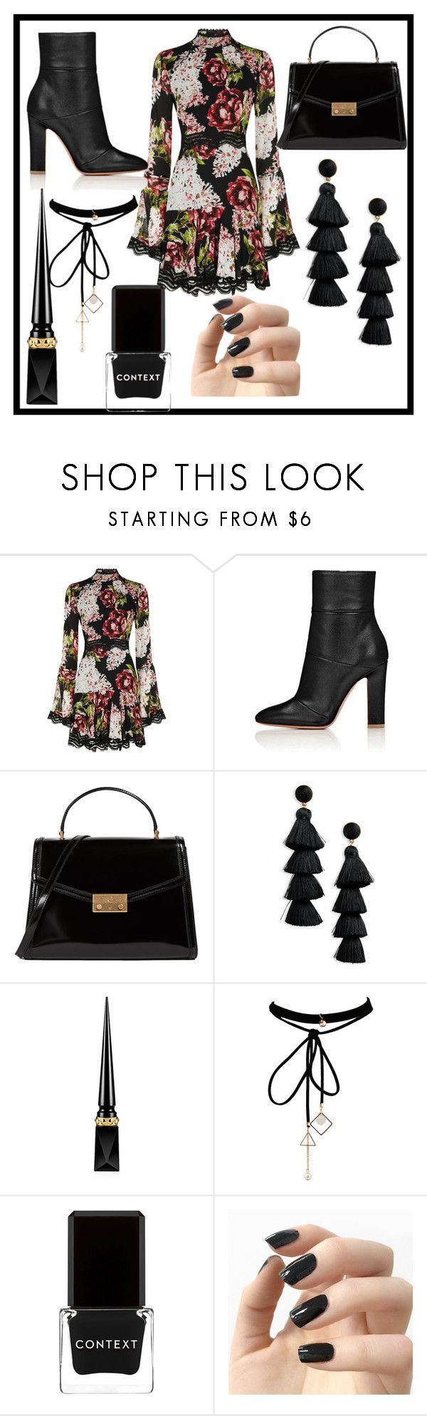 """fall outfit look"" by fashionqueen886 ❤ liked on Polyvore featuring Nicholas, Tory Burch, BaubleBar, Christian Louboutin, WithChic, Context and Incoco"