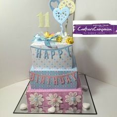 Birthday cake made with Sara Signature Birthday Party Collection - designed by Debbie James #crafterscompanion