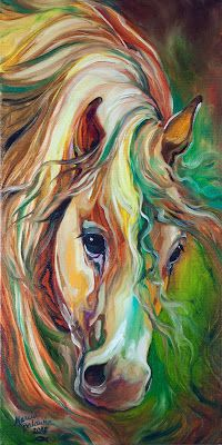 ABSTRACT ORIGINAL OIL PAINTING WILD HORSE by Marcia Baldwin