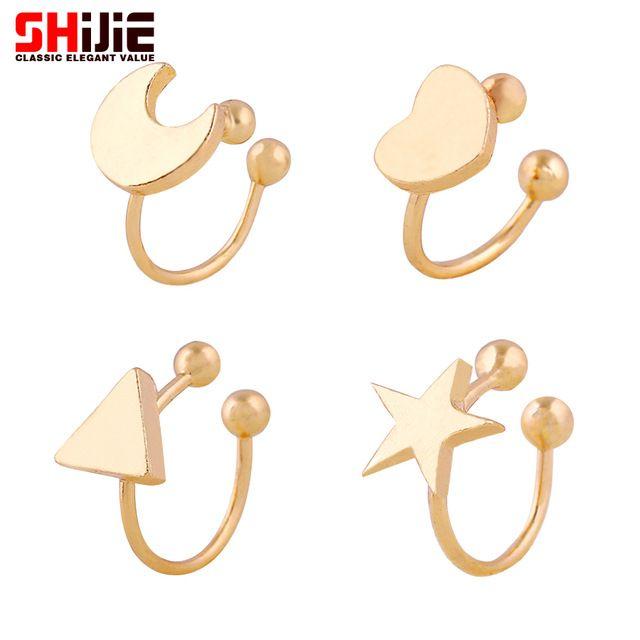 Adorável Ouro Prata ear cuff clip sobre brincos para as mulheres estrela Da Lua Coração Triângulo mini brinco Shijie moda jóias bijoux femme