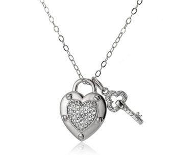 Diamonique by Andrea McLean 0.3ct tw Heart Pendant & Chain Sterling Silver - 309847
