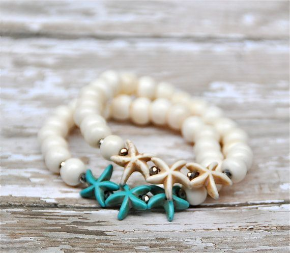 Turquoise or Natural Bone Starfish Bead Bracelets