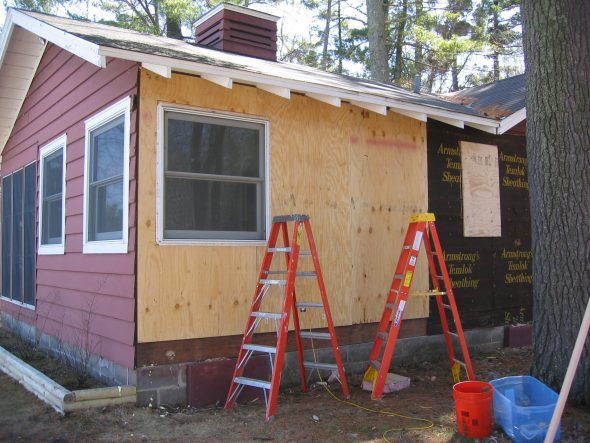 Plywood Replaced Old Original Armstrong Temlok Sheathing Prior To Board And Batten Siding In Board And Batten Siding Board And Batten Exterior Board And Batten