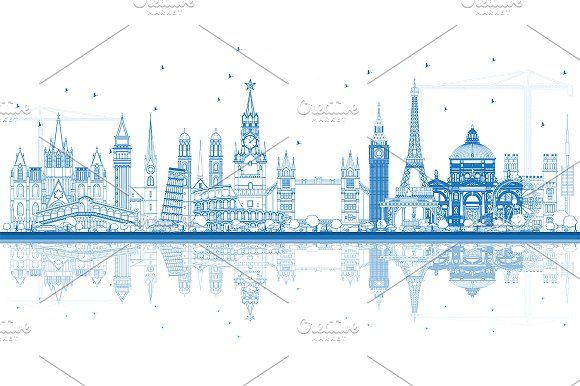 #Outline #Famous #Landmarks in #Europe by Igor Sorokin on @creativemarket