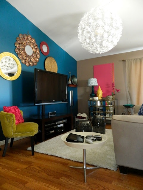 Bold and Colorful Living Room Makeover
