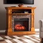 Bridgewater 45.5 in. W Corner Infrared Electric Media Fireplace in Brown Sienna
