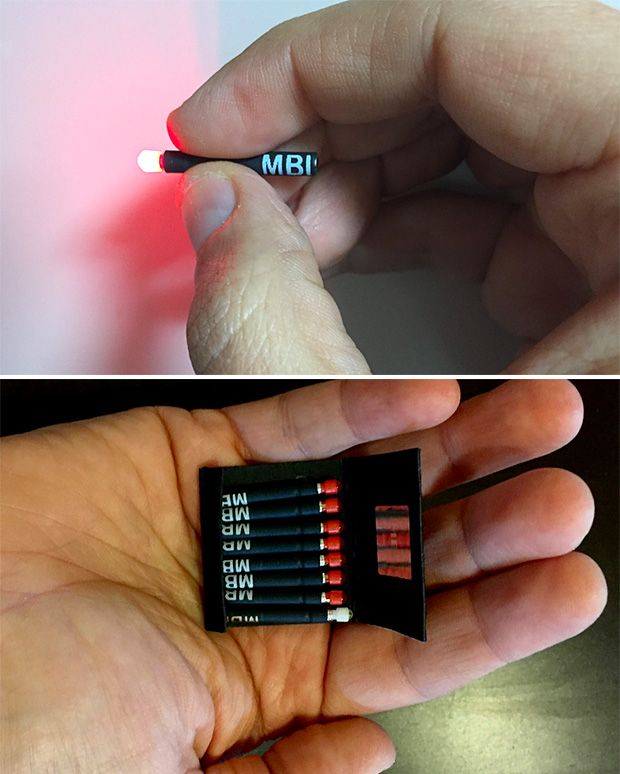 MBI Matchbook For your minimalist survival kit, you'll probably want some real matches, too, but this matchbook full of tiny, disposable LED flashlights will definitely shed some light on your emergency situation. The MBI lights are about the size of an actual match & burn for up to 8 hours. There's also a magnet in the base of the match allowing them to stand up hands-free.