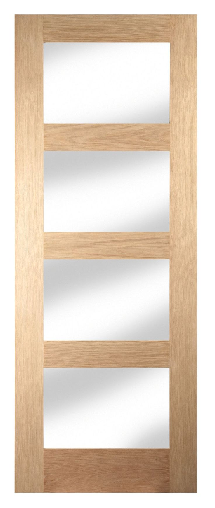 4 Panel Shaker Oak Veneer Glazed Internal Standard Door (H)1981mm (W)762mm