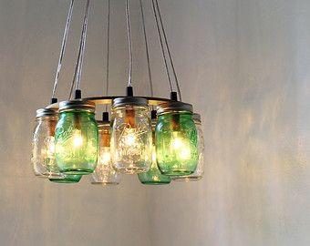 Moderna lámpara de niebla tarro de masón araña con por BootsNGus