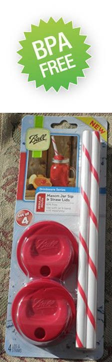 Ball Mason Jar REGULAR Mouth Canning Jar; Sip & Straw Lids, New! RED! Set of 4 red sip lids and 4 red/white straws. (jars and metal rings not included), BPA Free, Drinkware, Drink Container.
