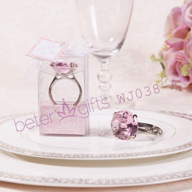 Free Shipping 48pcs Crystal Ring Keychain Wedding Favors Bachelor Party Supplies BETER WJ038
