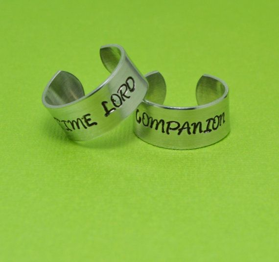 Doctor Who Ring Set  Time Lord Companion  by SilverStatements, $20.00 I feel like I would get these as a gift. I should probably try and date a Doctor Who fan