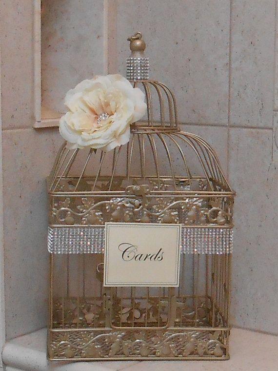 Large Birdcage Wedding Card Holder / Champagne Gold by ThoseDays