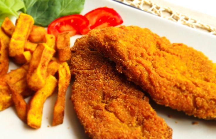 Vegan Wiener Schnitzel. Recipe: http://fetchveg.blogspot.hu/2015/01/vegan-wiener-schnitzel.html