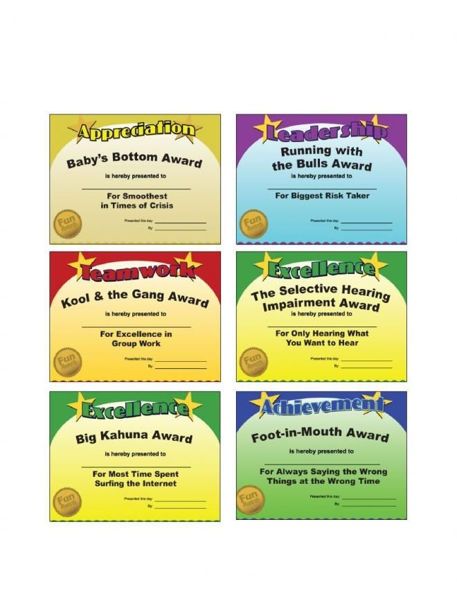 office gag certificates Google Search Fun awards for